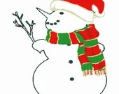 Snowman with branch digital embroidery design, Snowman digitized embroidery design