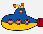 Toy submarine digital embroidery design, Submarine digitized embroidery design