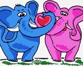 Elephant couple digital embroidery design, Elephant couple digitized embroidery design