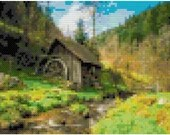 Cross stitch water mill in the scenic outdoors pdf pattern