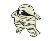 Halloween mummy digital embroidery design, Halloween mummy digitized embroidery design