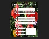 Planner for daily activity with flowers background pdf template