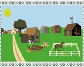 Farm house in country with border cross stitch pattern pdf