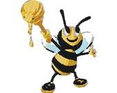 Cartoon honey bee digital embroidery design, Bee digitized embroidery design