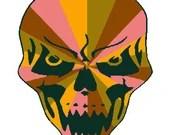 Skull burst digital embroidery design, Skull burst digitized embroidery design