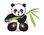 Panda bear embroidery design, Panda digitized embroidery design