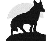 Wolf silhouette digital embroidery design, Wolf digitized embroidery design