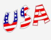 USA logo digital embroidery design, USA digitized logo embroidery design