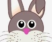 Easter rabbit face digital embroidery design, Rabbit face digitized embroidery design