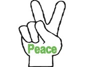 Peace embroidery design, Peace embroidery digitized  design