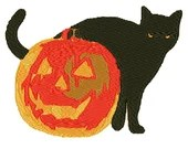 Halloween cat and pumpkin digital embroidery design, Halloween cat and pumpkin  digitized embroidery design