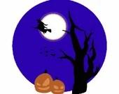 Halloween scene digital embroidery design, Halloween scene digitized embroidery design