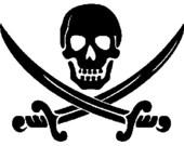 Pirate logo digital embroidery design, Pirate logo digitized embroidery design