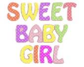 Sweet baby girl digital embroidery design, Baby girl digitized embroidery design