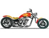 Chopper motorcycle embroidery design, Motorcycle digitized embroidery design