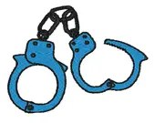 Handcuffs digital embroidery design, Handcuffs digitized embroidery design