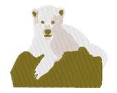 Polar bear cub digital embroidery design, Polar bear cub digitized embroidery design