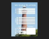 Planner for daily activity with lighthouse background pdf template