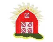 Barn digital embroidery design, Barn digitized embroidery design
