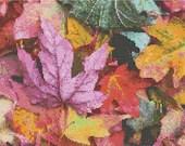 Cross stitch fall colored leaves pdf pattern