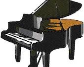 Antique piano embroidery design, Piano digitized embroidery design