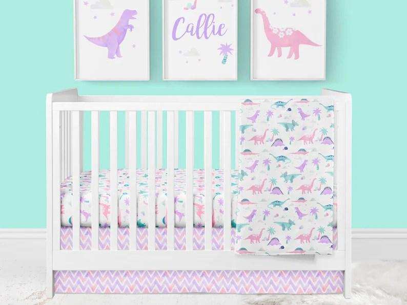 girl crib bedding dinosaur