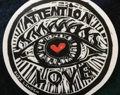 Attention Love! vinyl sticker 4""