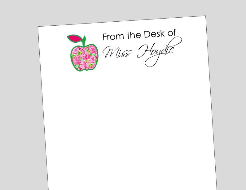 personalized flower apple notepad