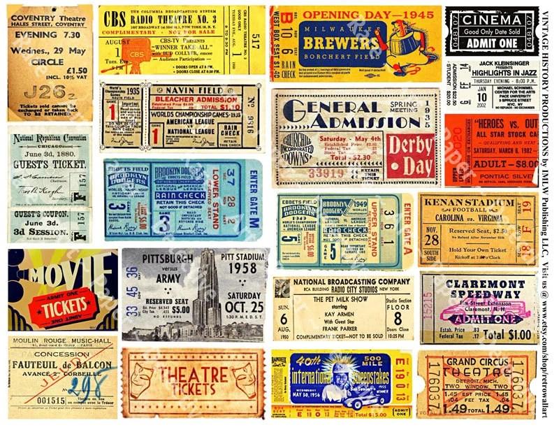 ticket stubs vintage movie