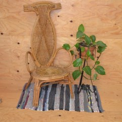 Round Wicker Chair Makeup Vanity With Back Etsy Local Pick Up Only Vintage Antique Woven Rattan Seat Angular Legs Scrolled