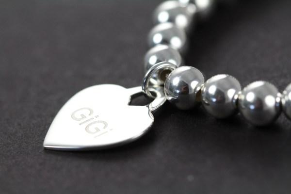 Custom Engraved Heart Pendant Bead Bracelet 925 Sterling