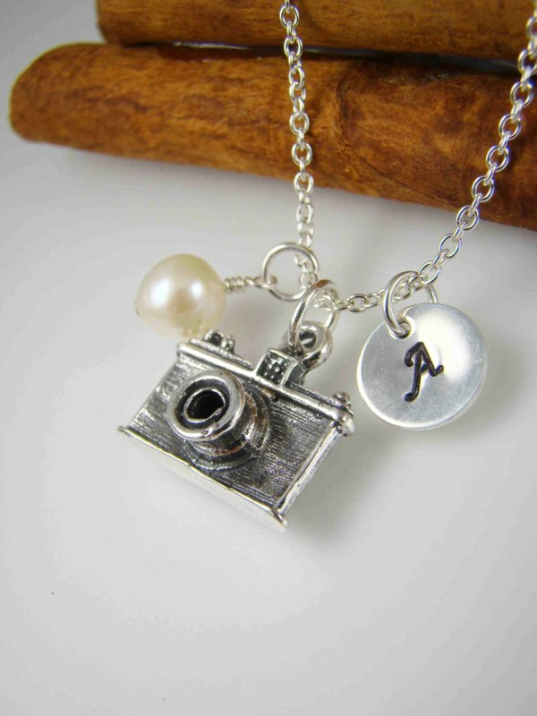 Camera Pendant Charm Necklace Sterling Silver