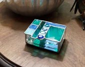 Stained Glass Box, Stained Glass Jewelry Box, geometric stained glass, turquoise blue glass, Abstract Stained Glass, glass jewelry box