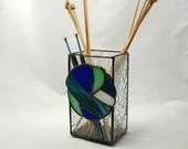 Knitting needle vase, stained glass vase, knitting needle holder, gift for knitter, blue glass, blue and green glass, variegated, fiber fan