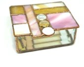 Pink Amber and white Geometric Stained Glass Box with Glass nuggets, stained glass box, pink glass box, bat mitzvah gift, housewarming gift