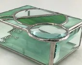 Stained Glass Box, Stained Glass Jewelry Box, Circle motif, geometric stained glass, Earthy Green, Abstract Stained Glass, glass jewelry box