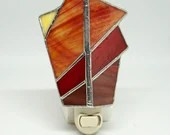 Sunrise Stained Glass Nightlight, stained glass night light, red night light, baby gift, housewarming gift, shades of sunset, red glass
