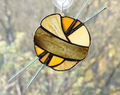Stained Glass Ball of Yarn, Yarn Balls, Stained Glass Sun Catcher, Knitting sun catcher, gift for knitter, brown stained glass, amber brown