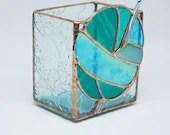 Stained Glass box, Crochet Hook Vase, Turquoise Stained Glass Vase, teal glass, tool storage, fiber artist, knit inspired, crochet vase