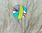 Colorful Stained Glass Ball of Yarn, Yarn Balls, Stained Glass Sun Catcher, Knitting sun catcher, gift for knitter, fiber lover, ombre yarn