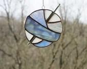 Stained Glass Ball of Yarn, Yarn Balls, Stained Glass Sun Catcher, Knitting sun catcher, gift for knitter, blue stained glass, fiber art