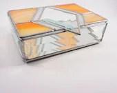 Stained Glass Box, glass jewelry box, Orange Diamond Stained Glass Box, diamond bevel box, sunshine diamond jewelry box, glass trinket box