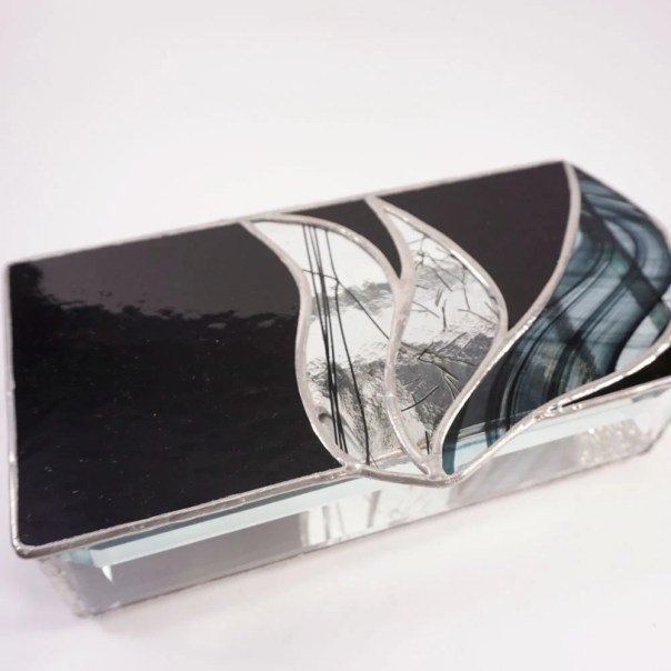 Black Stained Glass Jewelry Box, Abstract Stained Glass, Glass trinket box, black and clear glass box, modern stained glass, shin