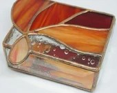 Flame Red Stained Glass Jewelry Box, flame and teardrop stained glass, stained glass trinket box, orange and red stained glass box, copper