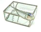 Clear Stained Glass Texture Box, large Glass Nugget, Stained Glass Jewelry Trinket Box, bat mitzvah gift, housewarming gift, art glass box