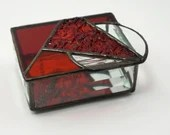 Red Stained Glass Jewelry Trinket Box, Red Glass Jewelry Box, Geometric glass box, red texture glass, birthday gift, housewarming gift