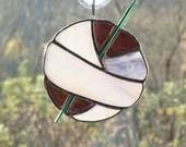 Stained Glass Ball of Yarn, Yarn Balls, Stained Glass Sun Catcher, Crochet sun catcher, gift for crocheter, purple plum glass, fiber art