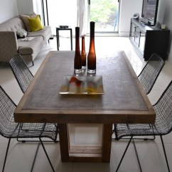 Concrete Kitchen Table Lacquer Cabinets Dining And Reclaimed Wood Etsy Image 0