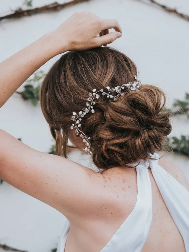 """beaded hair vines, pearl hair accessories, bridal accessories - """"stacy"""" hand-beaded bridal hair vine (silver, gold, rose gold or opal)"""