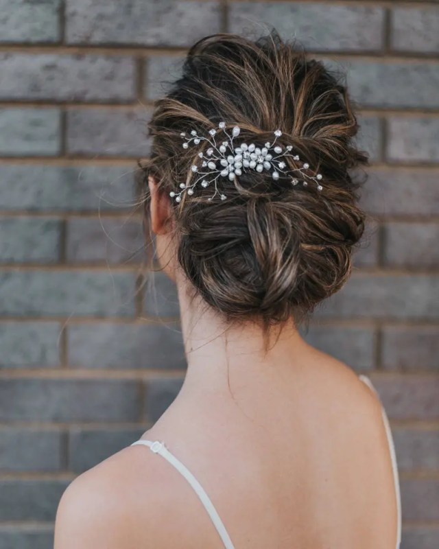 """bridal hair comb, flower comb, wedding hair accessories - """"camille"""" hand beaded flower hair comb in silver, gold or rose gold"""